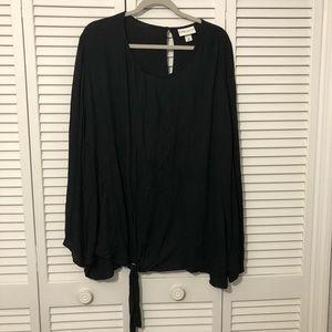 AVA & VIV Split Long Sleeve Tied Black Blouse